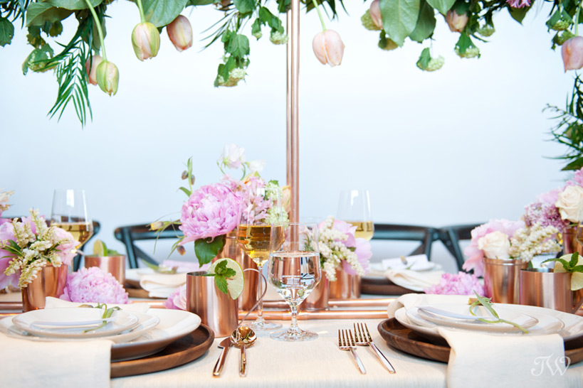 Copper details from Crate & Barrel at a Charbar wedding captured by Tara Whittaker Photography