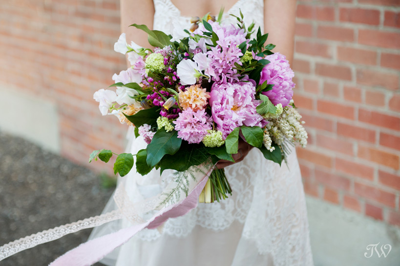 bridal bouquet from Flowers by Janie at a Charbar wedding captured by Tara Whittaker Photography