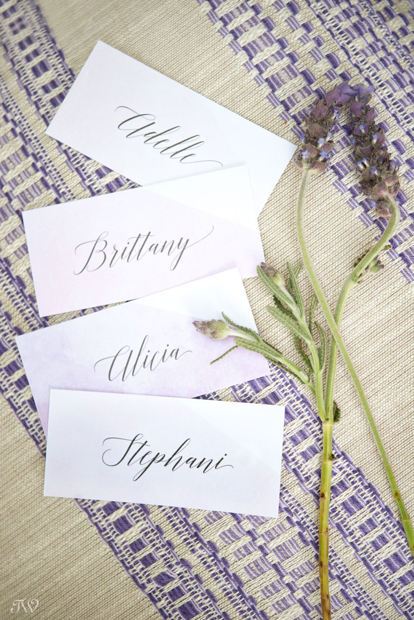 watercolour place cards captured by Calgary wedding photographer Tara Whittaker