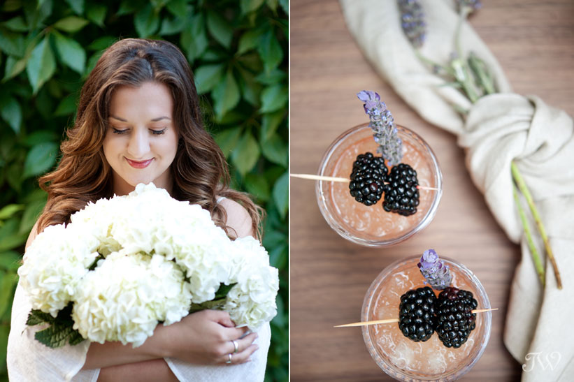tray of cocktails at a bridal shower captured by Calgary wedding photographer Tara Whittaker