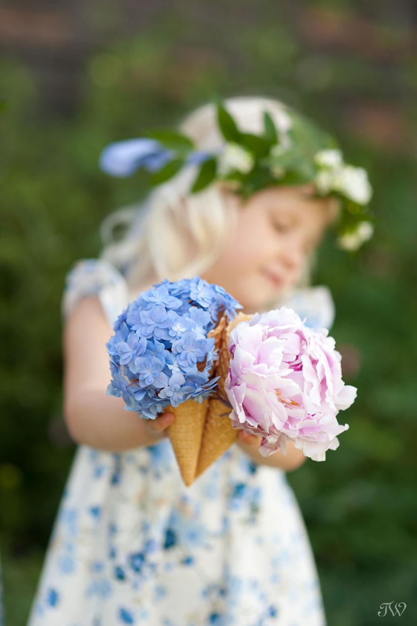 flower girl ideas flowers arranged in ice cream cones