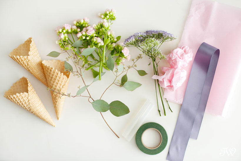 supplies needed for ice cream cone bouquets DIY