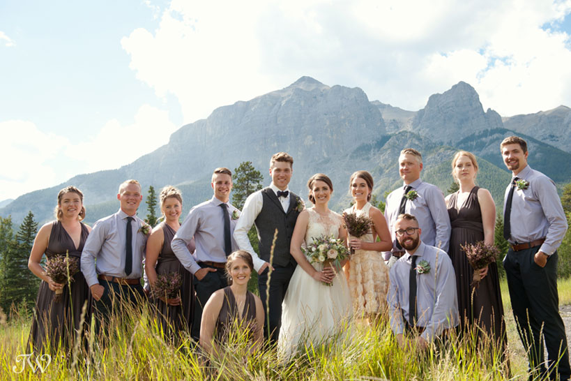 bridal party pose near Quarry Lake Canmore Tara Whittaker Photography