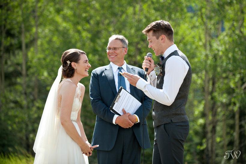 groom's wedding vows captured by Calgary wedding photographer Tara Whittaker