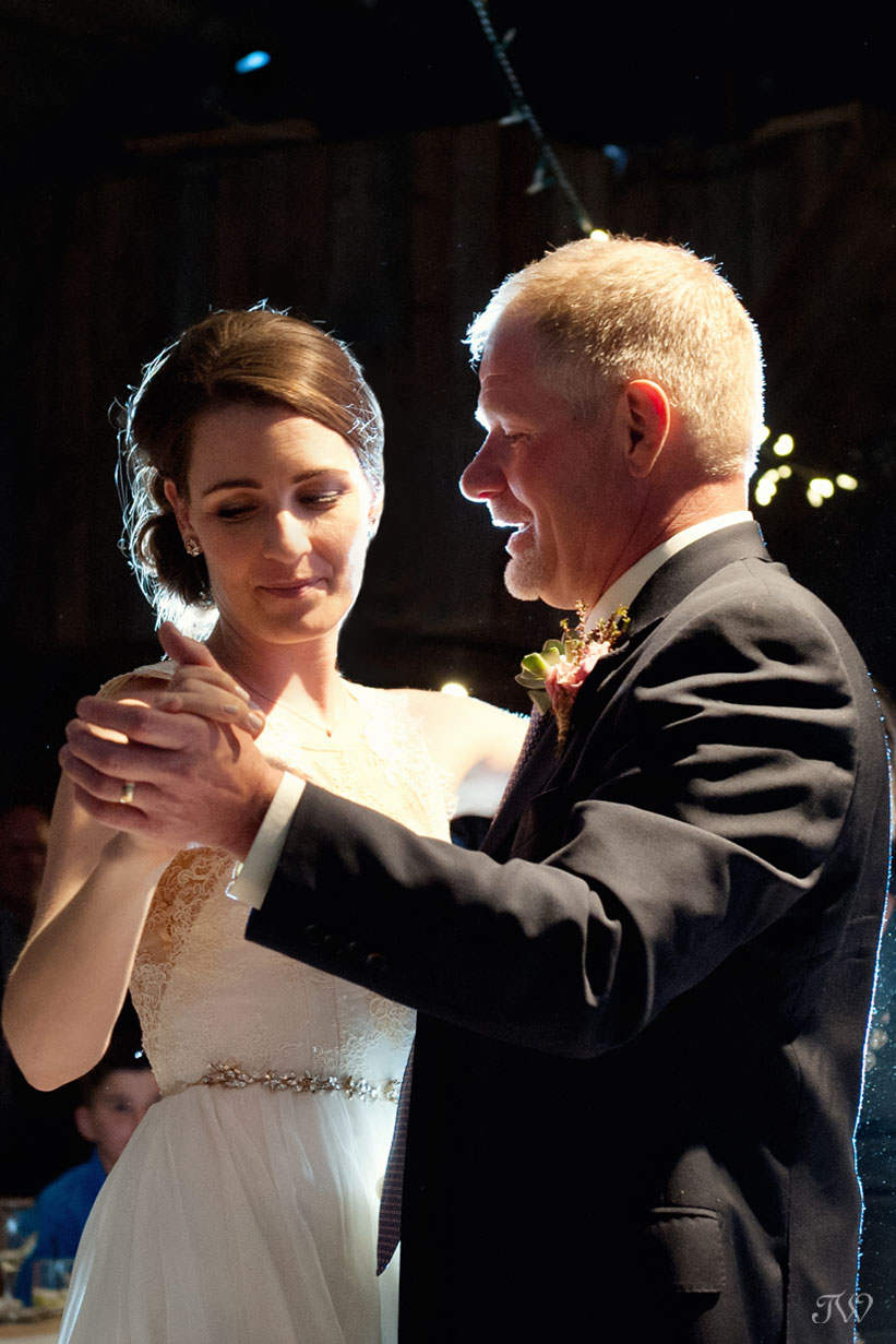 Father daughter dance at Cornerstone Theatre wedding captured by Tara Whittaker Photography