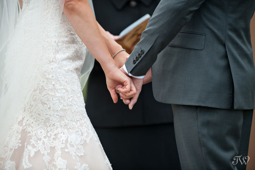 vows during Quarry Lake wedding captured by Tara Whittaker Photography