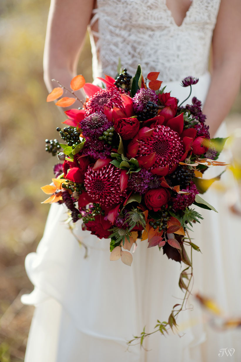 autumn bride carries a bouquet of protea captured by Calgary wedding photographer Tara Whittaker