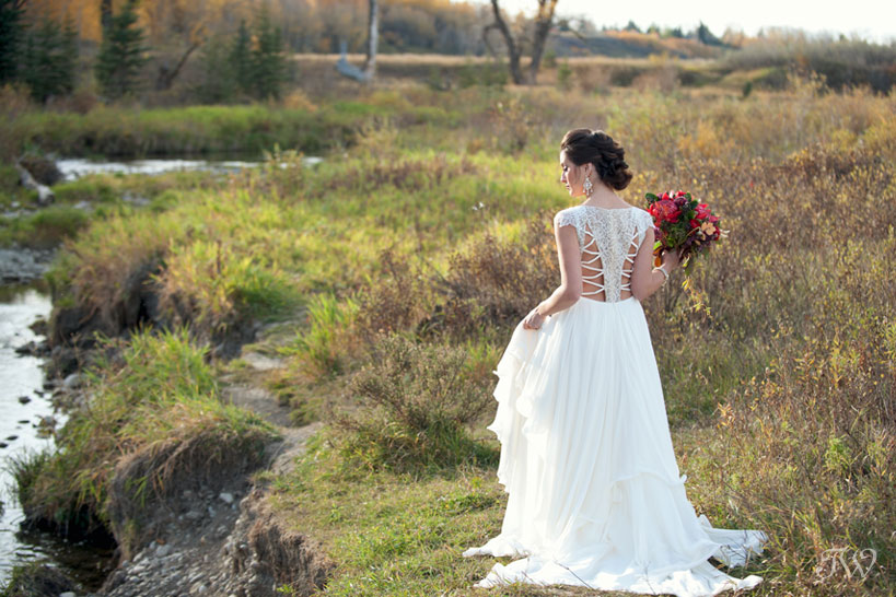 Detailed Leigh gown by Hayley Paige bridal captured by Calgary wedding photographer Tara Whittaker