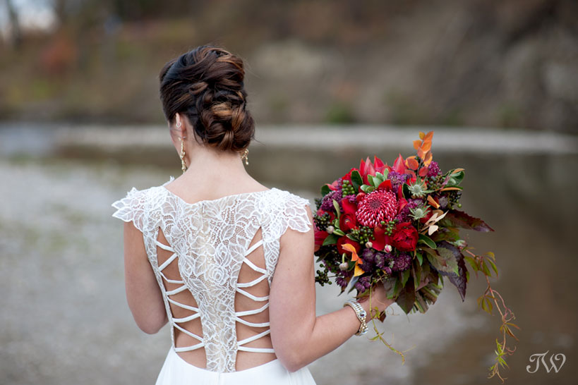 Lace detail on Leigh gown from Hayley Paige bridal captured by Calgary wedding photographer Tara Whittaker