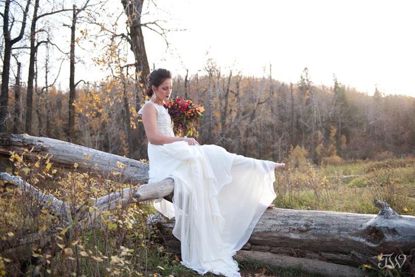Fall bride in Fish Creek Park captured by Calgary wedding photographer Tara Whittaker