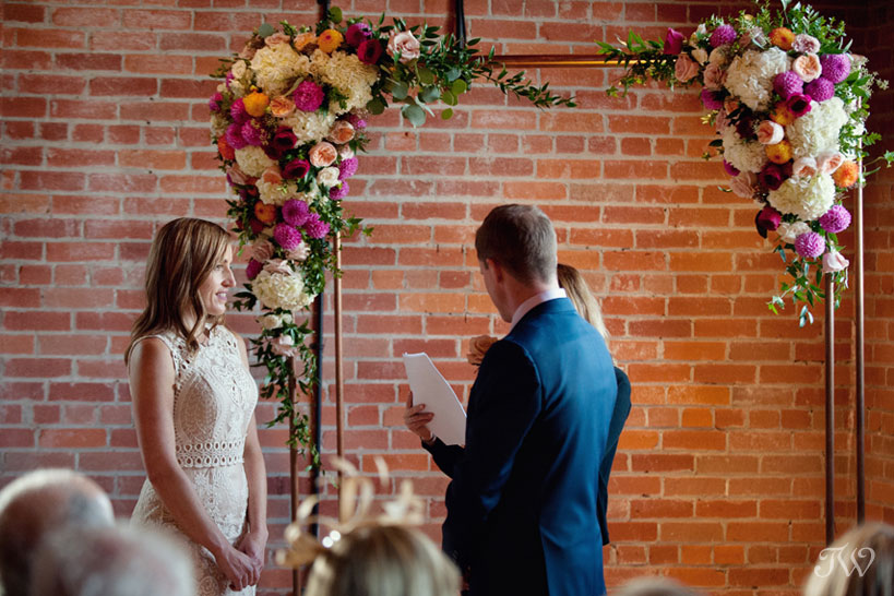 Copper wedding arch from Rus Vintage captured by Calgary wedding photographer Tara Whittaker