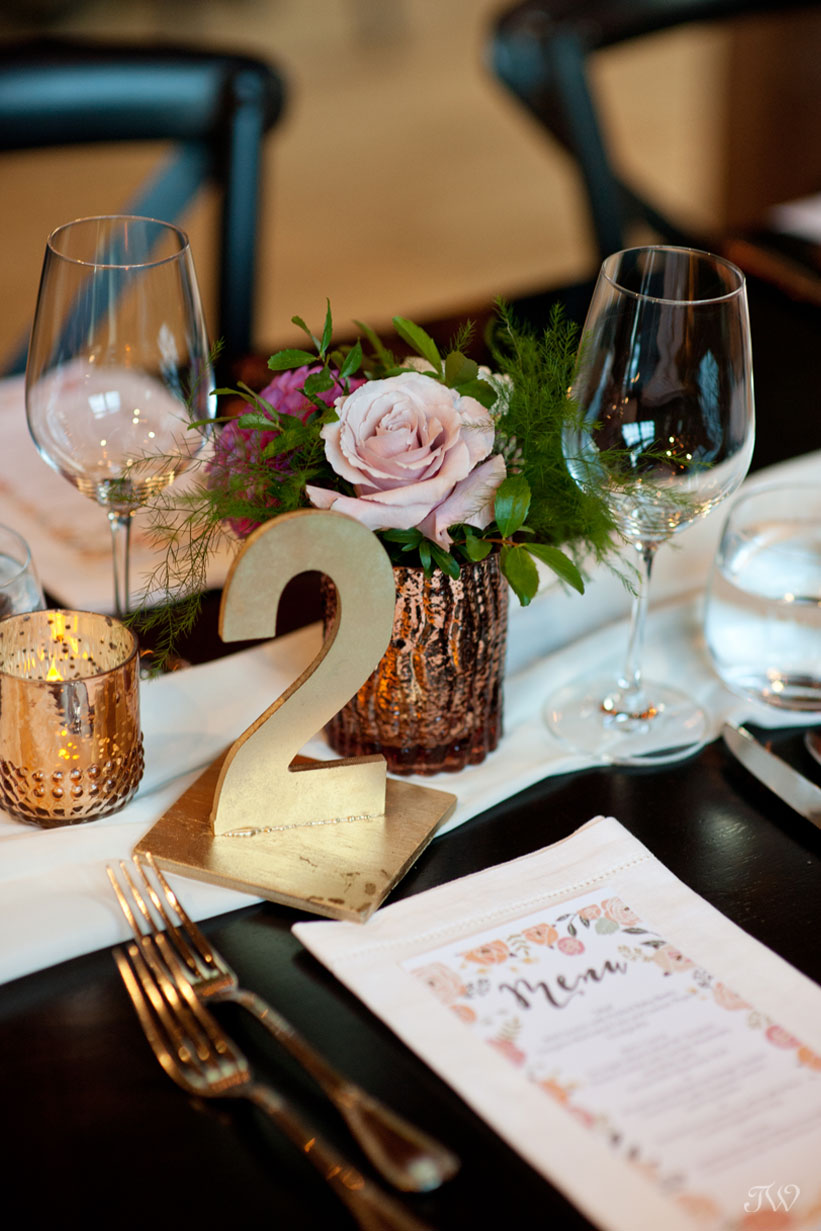 Pretty fall decor at a Charbar Calgary wedding captured by Tara Whittaker