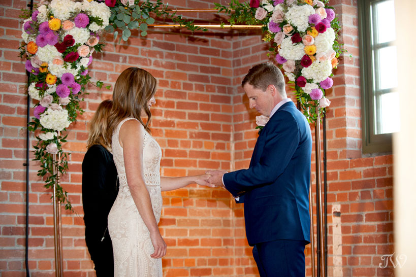 Wedding ceremony at Charbar in the Simmons Building captured by Tara Whittaker