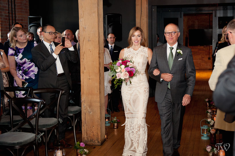 Father walks his daughter down the aisle at her Charbar Calgary wedding