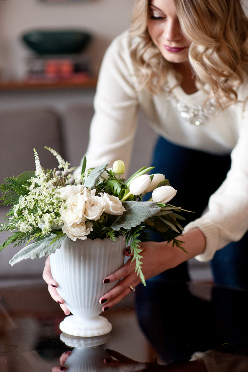 milk glass and white blooms for a mid century modern Christmas with Bex Vintage