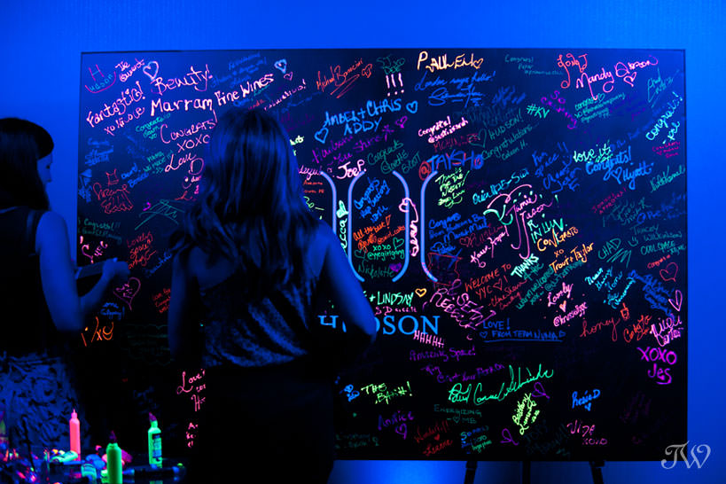 Neon guest book at Hudson opening night captured by Tara Whittaker Photography