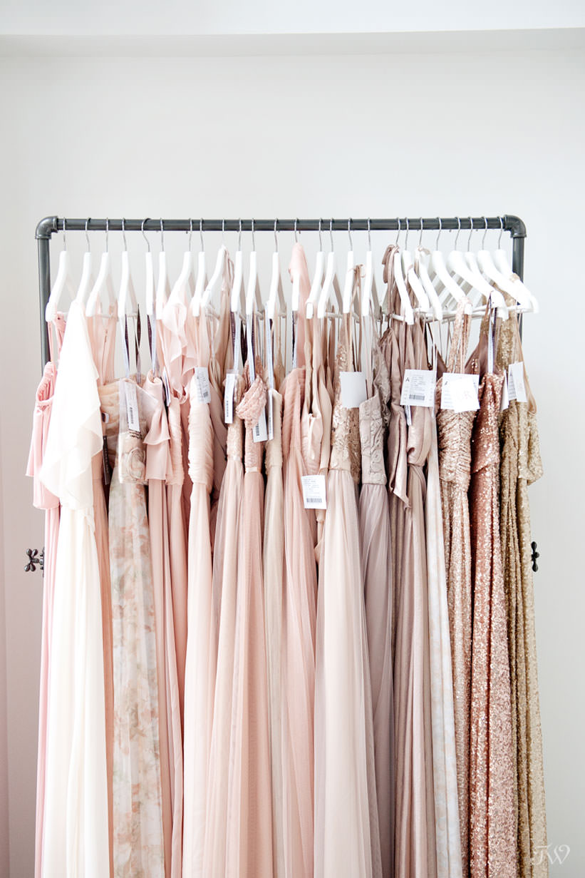 bridesmaid gowns at Blush & Raven captured by Calgary wedding photographer Tara Whittaker