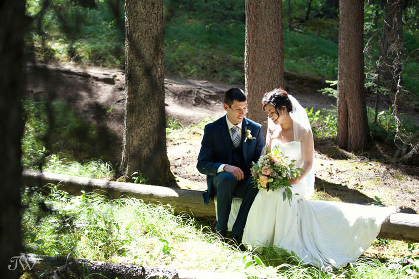 bride and groom before their Banff wedding captured by Tara Whittaker Photography