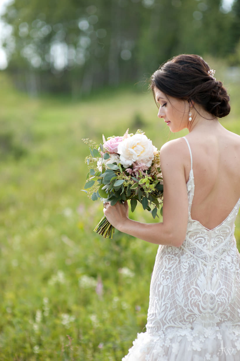 summer bride wearing the Umber gown from Persy bridal captured by Calgary wedding photographer Tara Whittaker