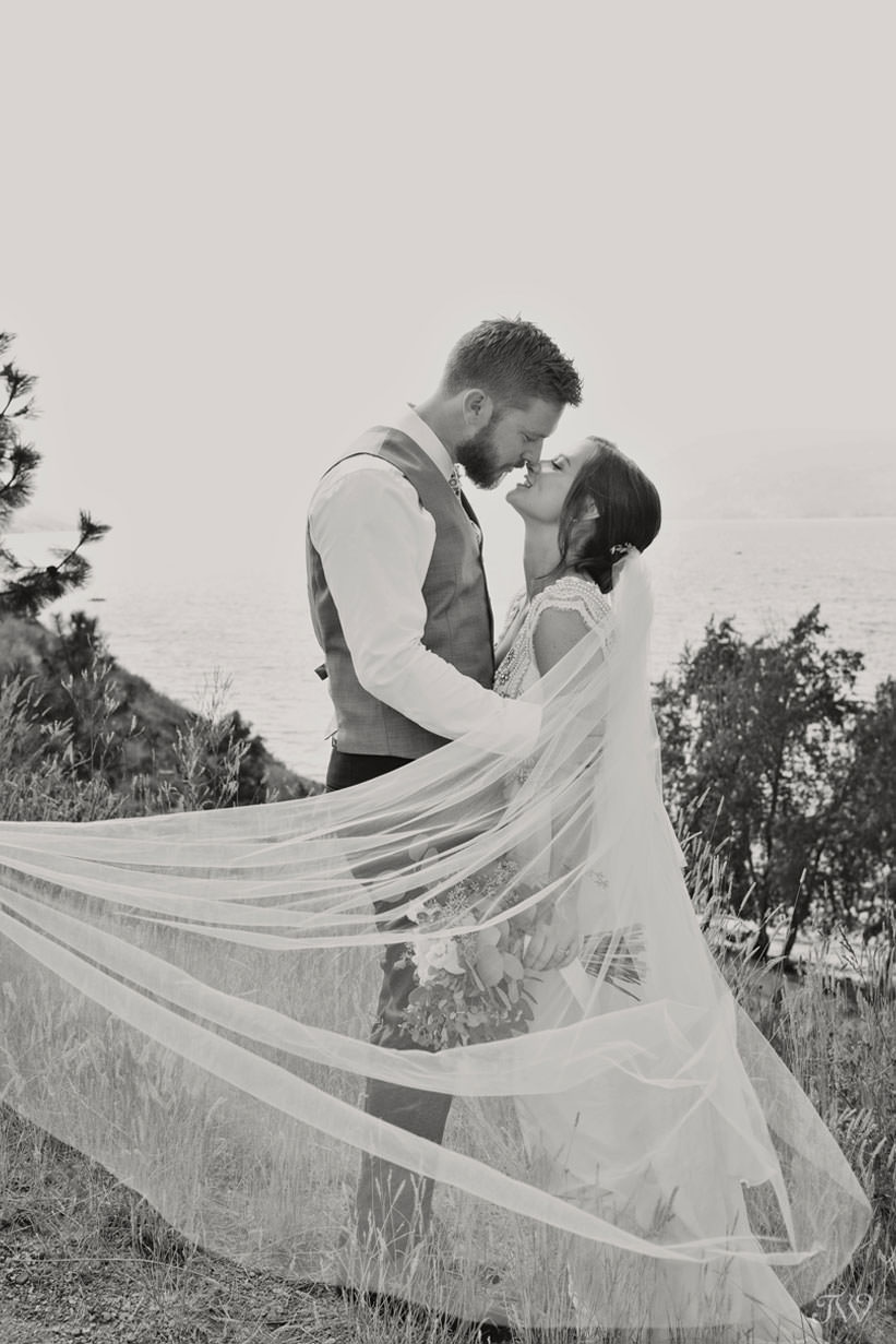 bride and groom during Kelowna wedding photos captured by Tara Whittaker Photography