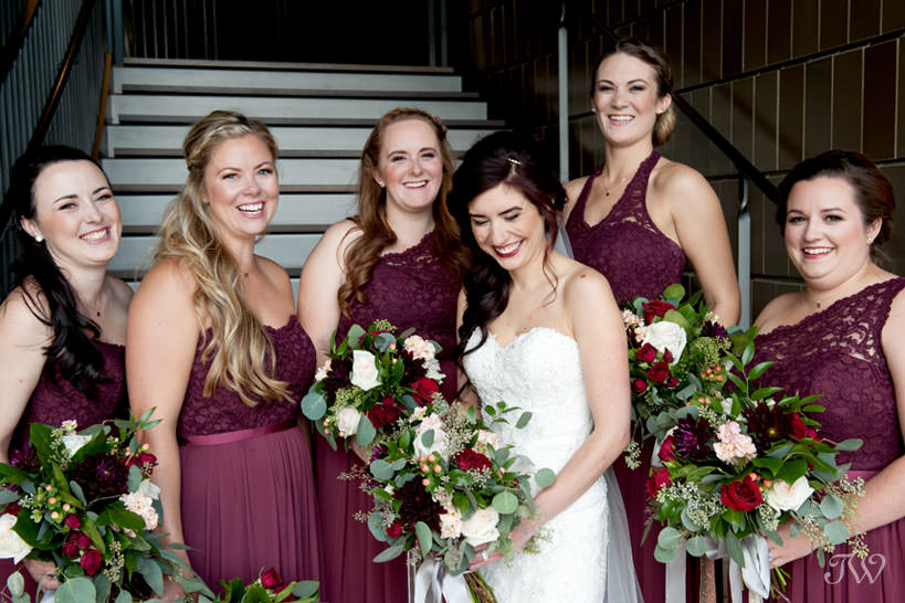 bridal party at the National Music Centre captured by Calgary wedding photographer Tara Whittaker