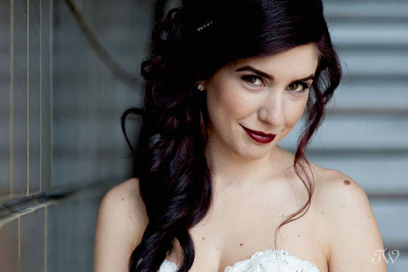 bridal portraits at the National Music Centre captured by Calgary wedding photographer Tara Whittaker