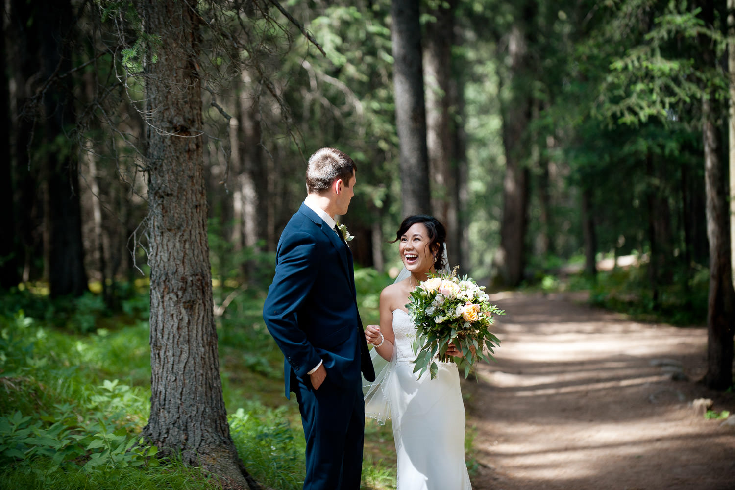 first look during a Banff Elopement captured by Tara Whittaker Photography