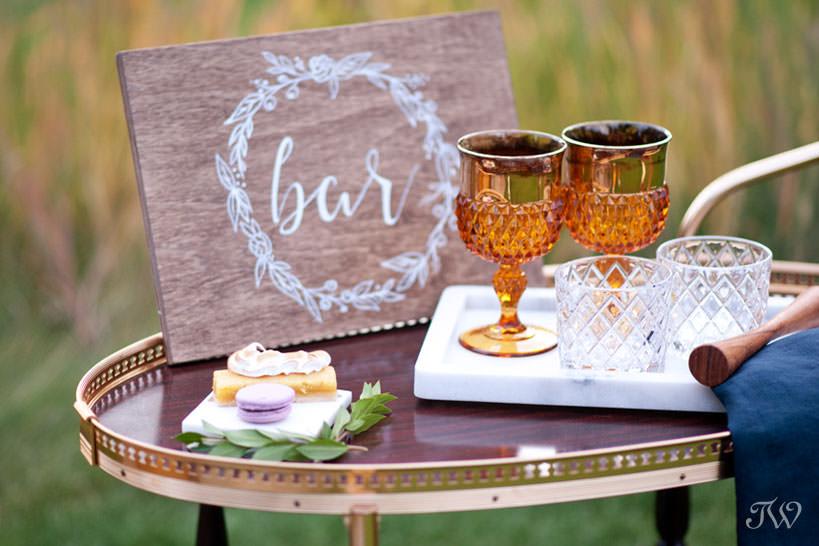 vintage bar cart at a Silvertip wedding captured by Calgary wedding photographer Tara Whittaker