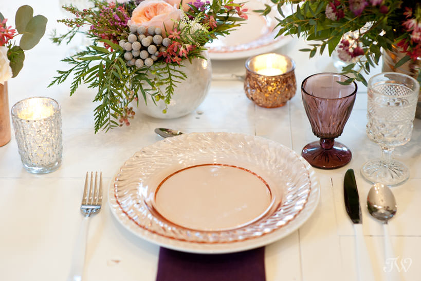 place setting winter wedding inspiration captured by Calgary wedding photographer Tara Whittaker