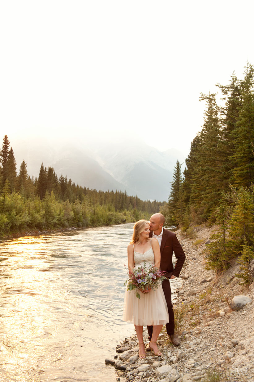 Caitie and Mark during their Spray Lakes engagement session captured by Tara Whittaker Photography