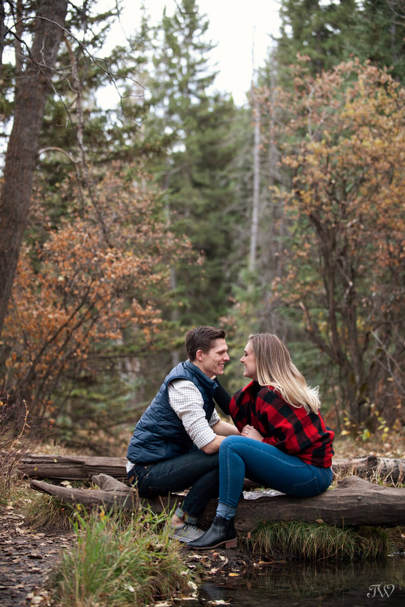 Reflections during a Big Hill Springs engagement session captured by Tara Whittaker Photography