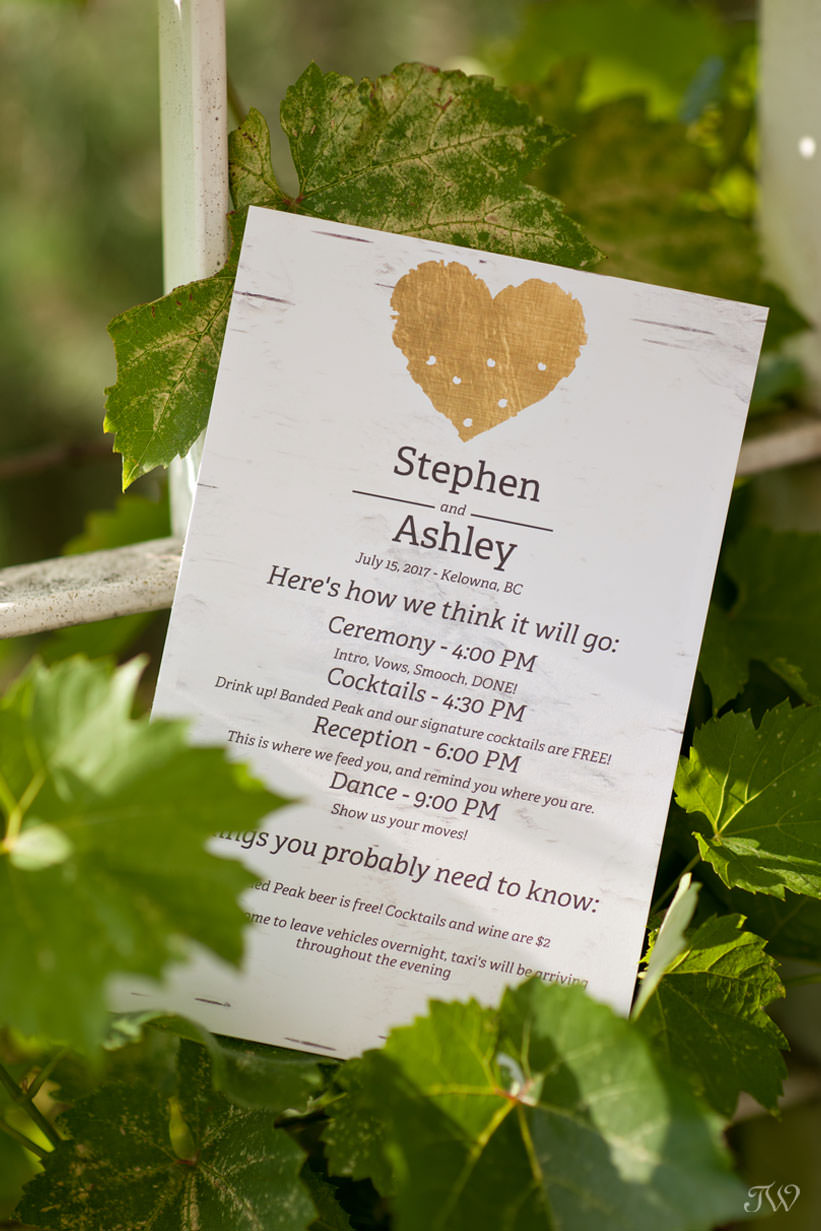 wedding invitation kelowna wedding photos captured by Tara Whittaker Photography