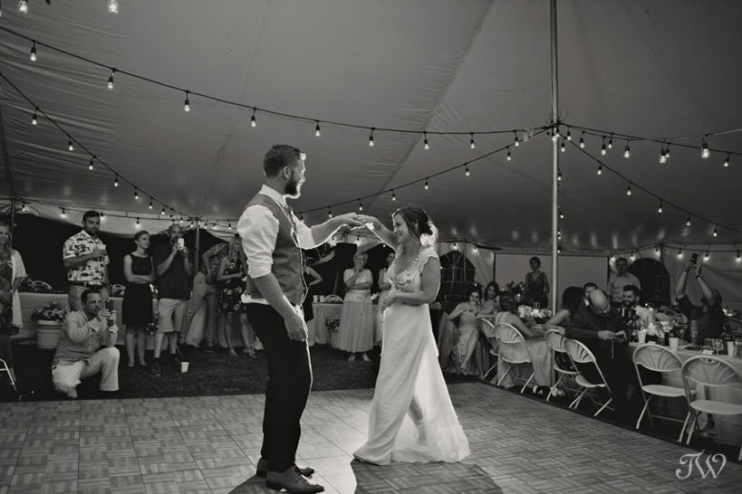 First dance at Kelowna vineyard wedding captured by Tara Whittaker Photography