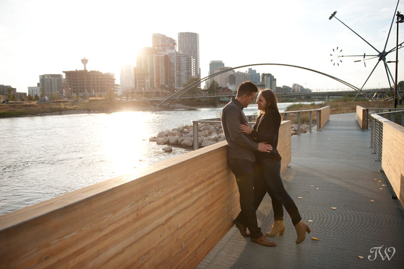 Charissa and Travis on St Patrick's Island during East Village engagement session captured by Tara Whittaker Photography