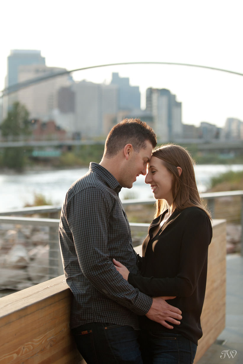 Charissa & Travis on St. Patrick's Island during East Village engagement session captured by Tara Whittaker Photography
