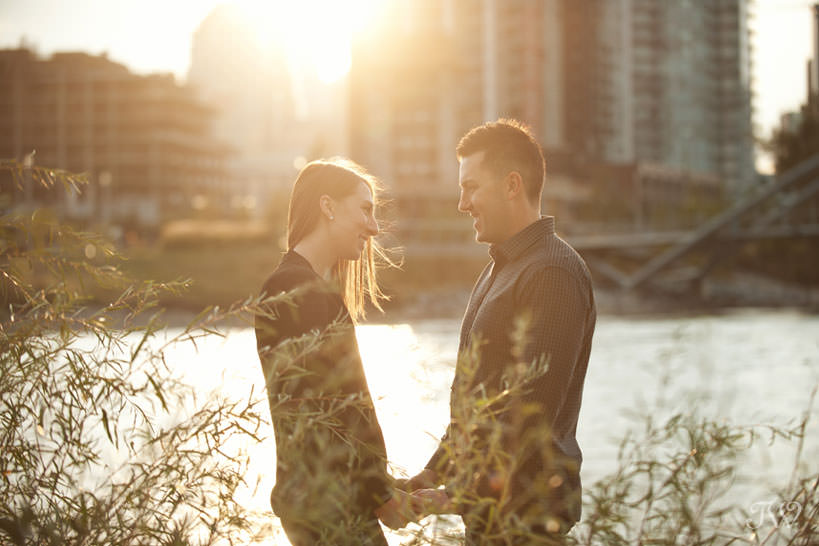 Golden hour during East Village engagement session captured by Tara Whittaker Photography