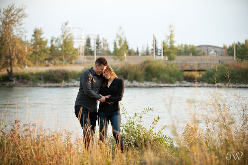 Charissa and Travis stroll during East Village engagement session captured by Tara Whittaker Photography