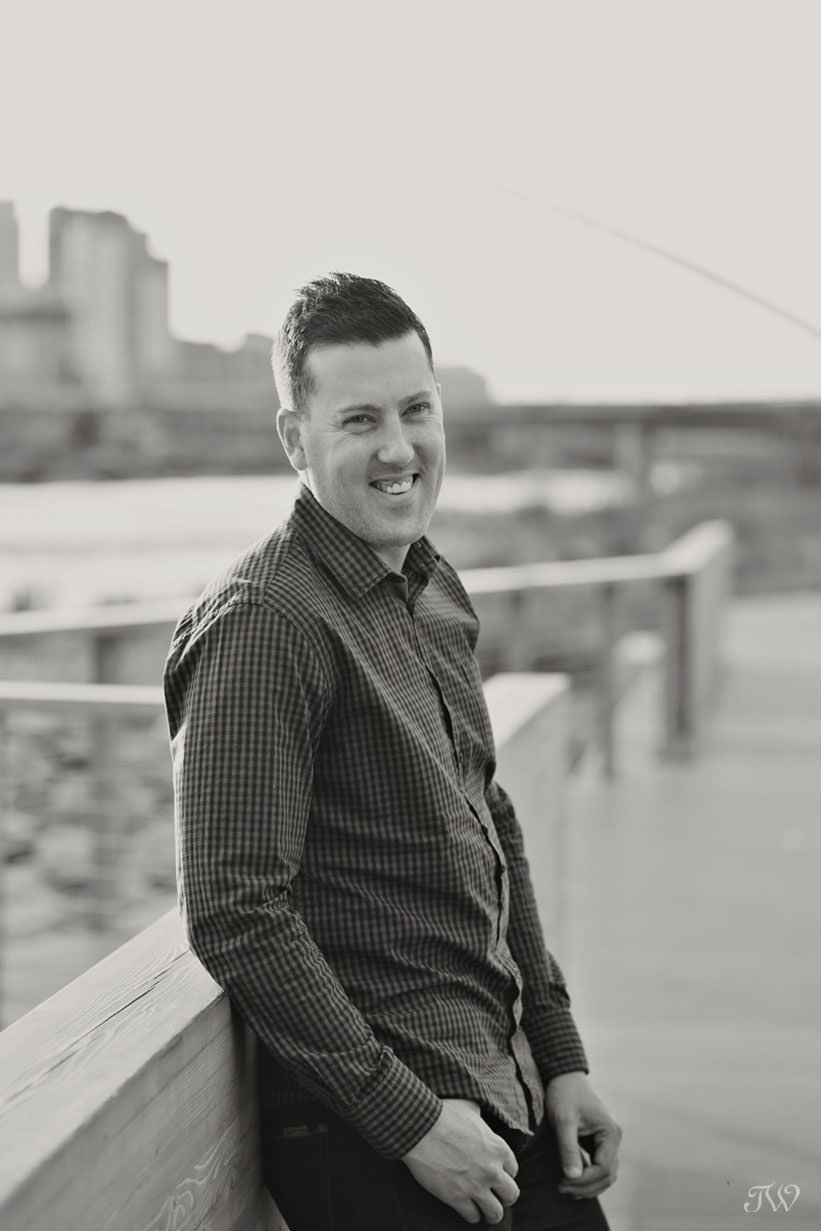 Travis on St. Patrick's Island during East Village engagement session captured by Tara Whittaker Photography