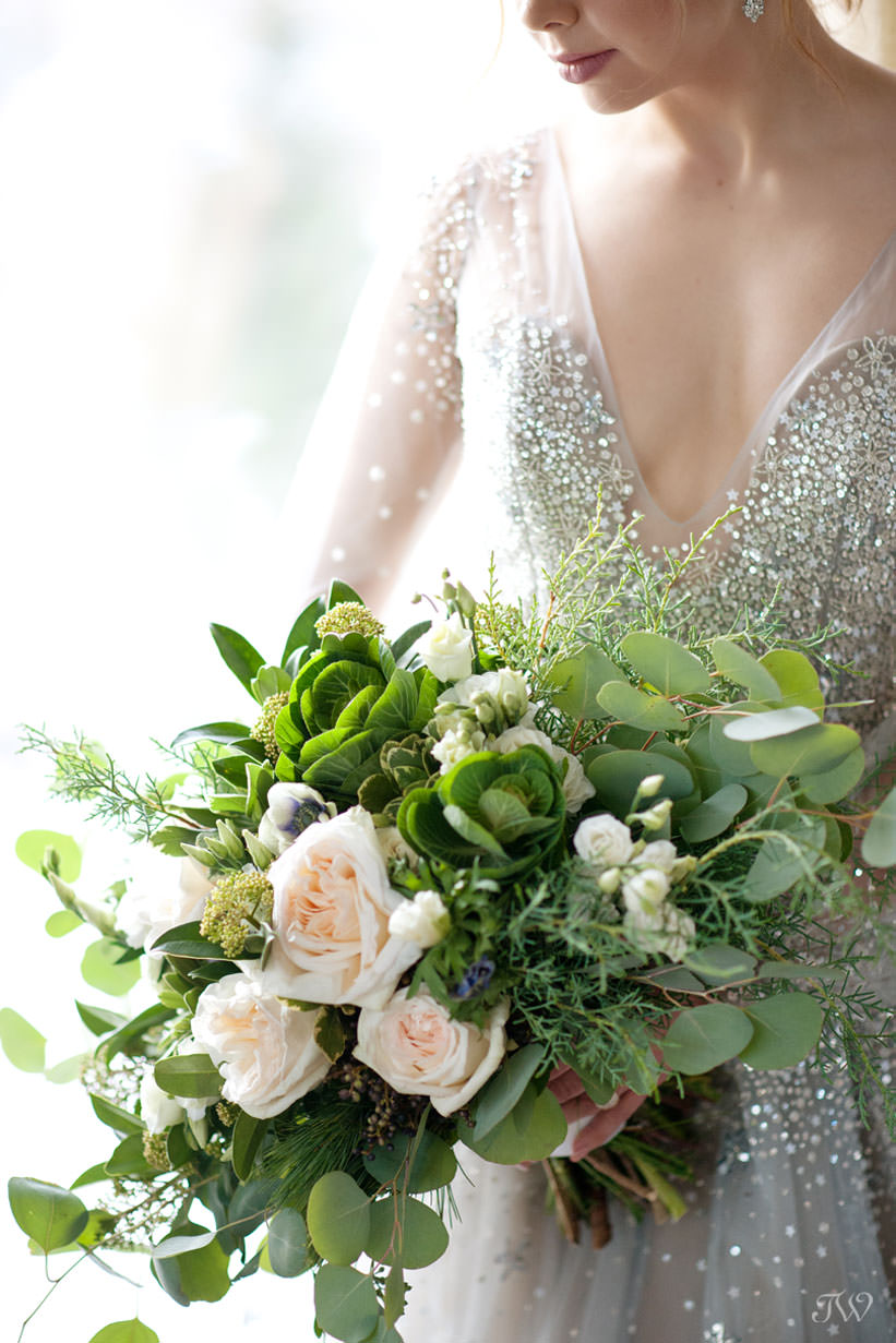 Roses and greenery for a winter bride in this feature of best bridal bouquets by Tara Whittaker Photography