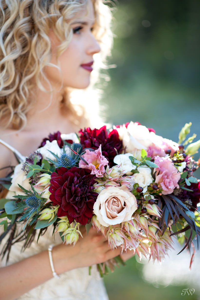 Bridal bouquet from Flowers by Janie for a mountain wedding captured by Tara Whittaker Photography
