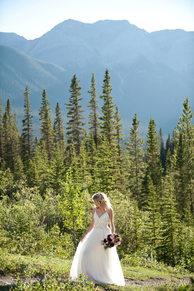Canmore bride wearing Marina Semone captured by Tara Whittaker Photography