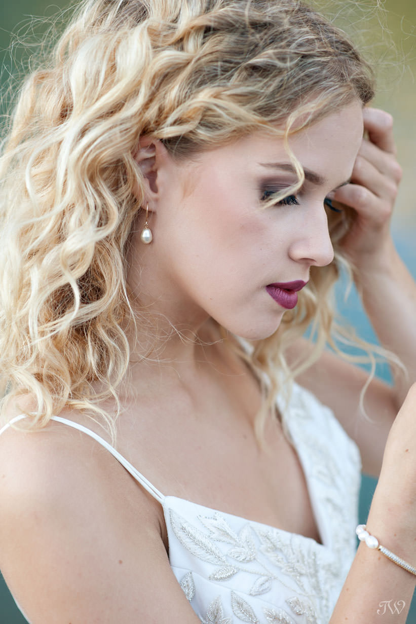 Hair and make-up by Mountain Beauties for a Canmore wedding captured by Tara Whittaker Photography