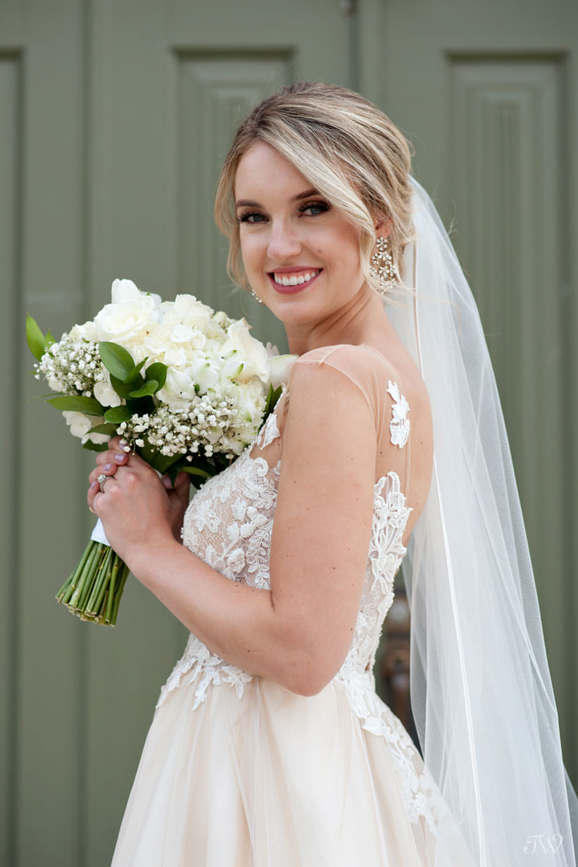 bridal portrait at St Stephen's Church captured by Calgary wedding photographer Tara Whittaker
