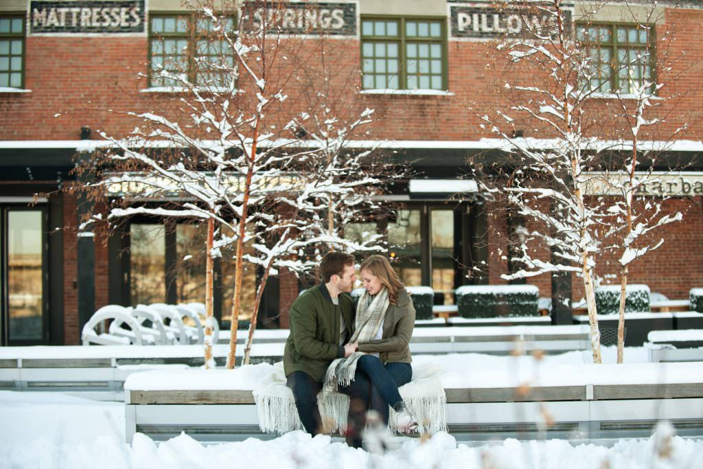 couple at Charbar in the East Village Calgary engagement sessions by Tara Whittaker Photography