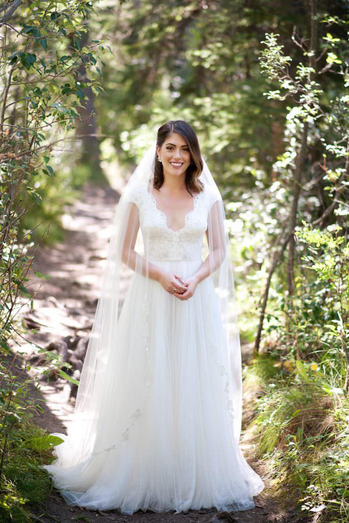 a bridal portrait before her Silvertip Resort Wedding