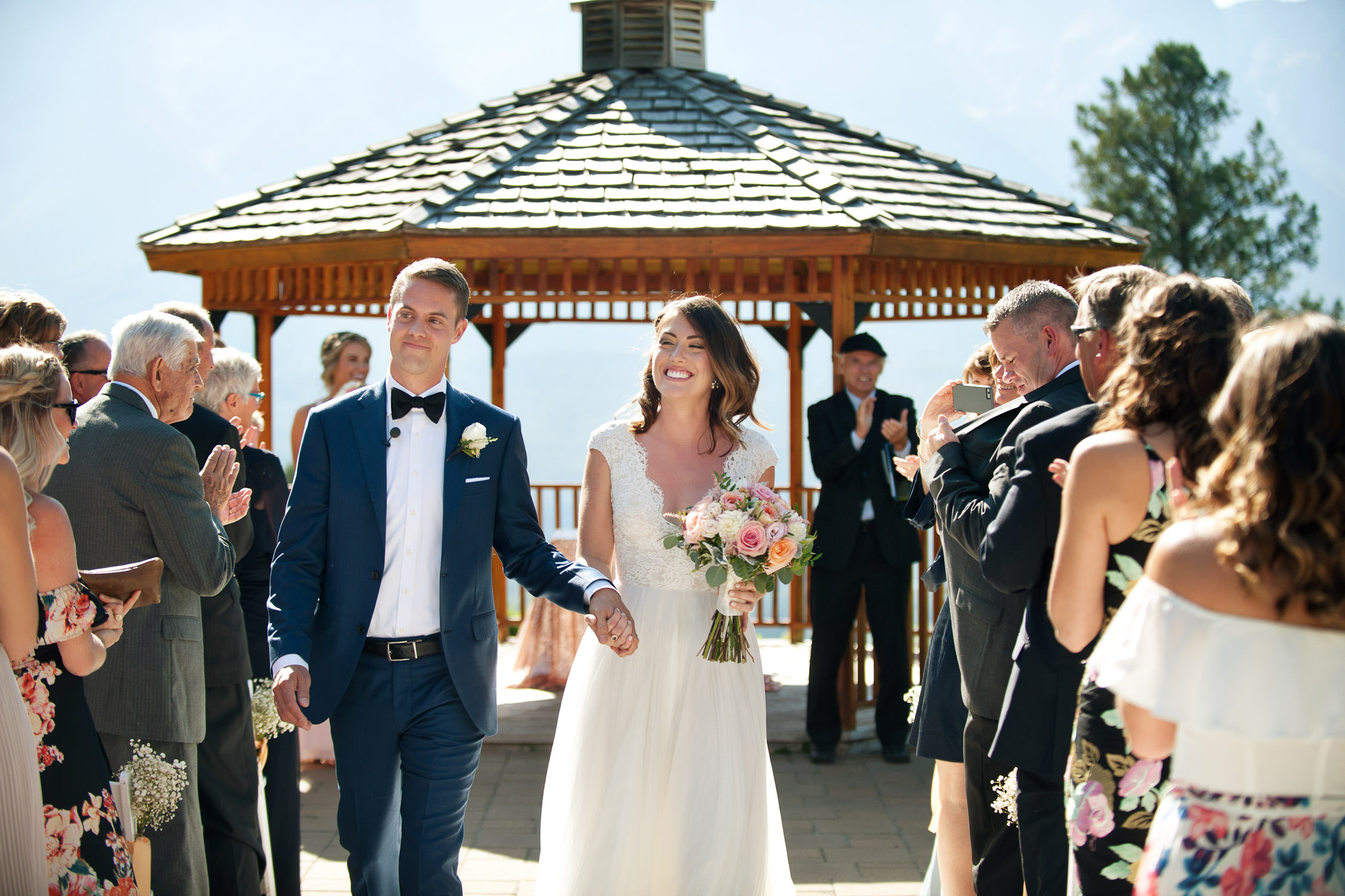 Just married smiles after a Silvertip Resort Wedding