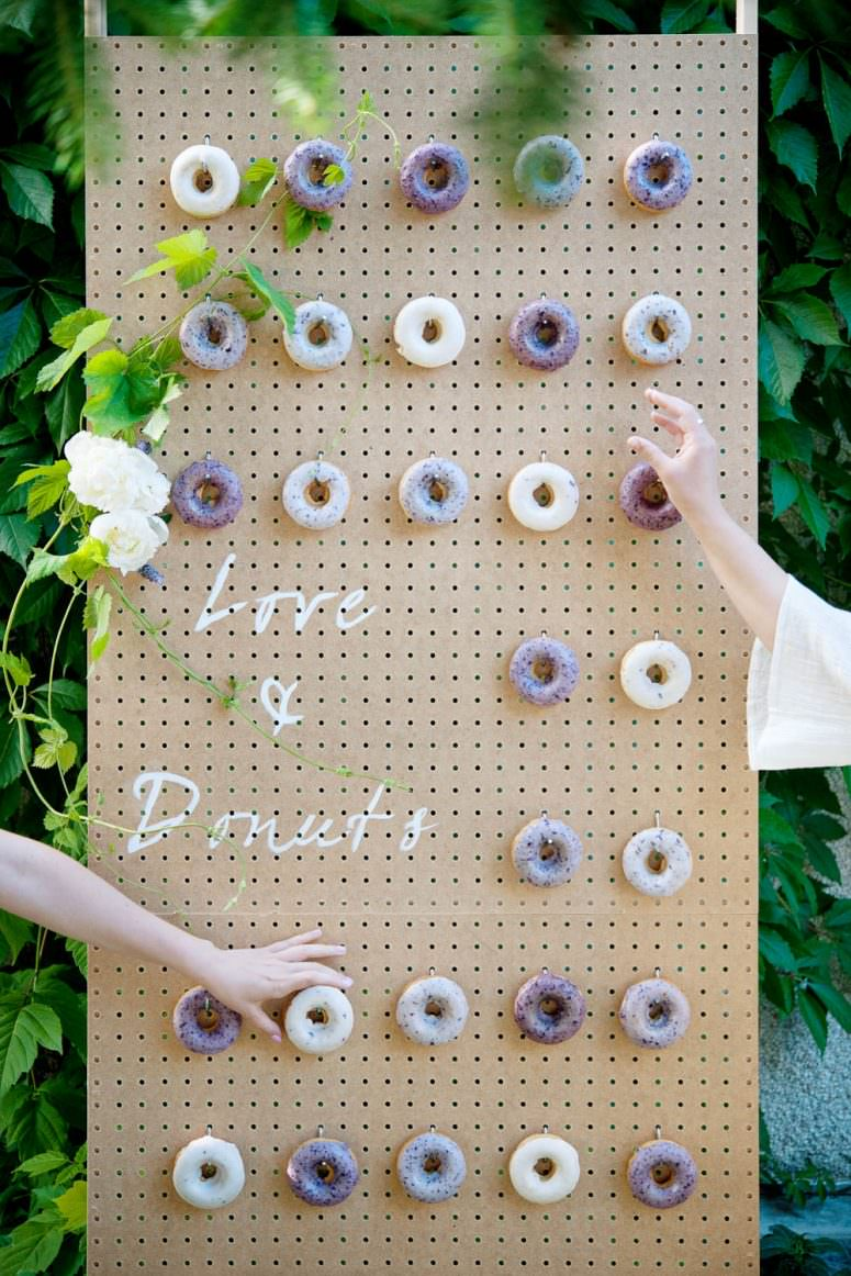Wedding donut wall from Pretty Sweet Calgary wedding portfolio for Tara Whittaker Photography