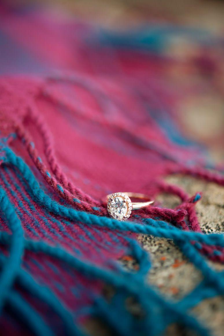 rose gold engagement ring captured by Calgary wedding photographer Tara Whittaker