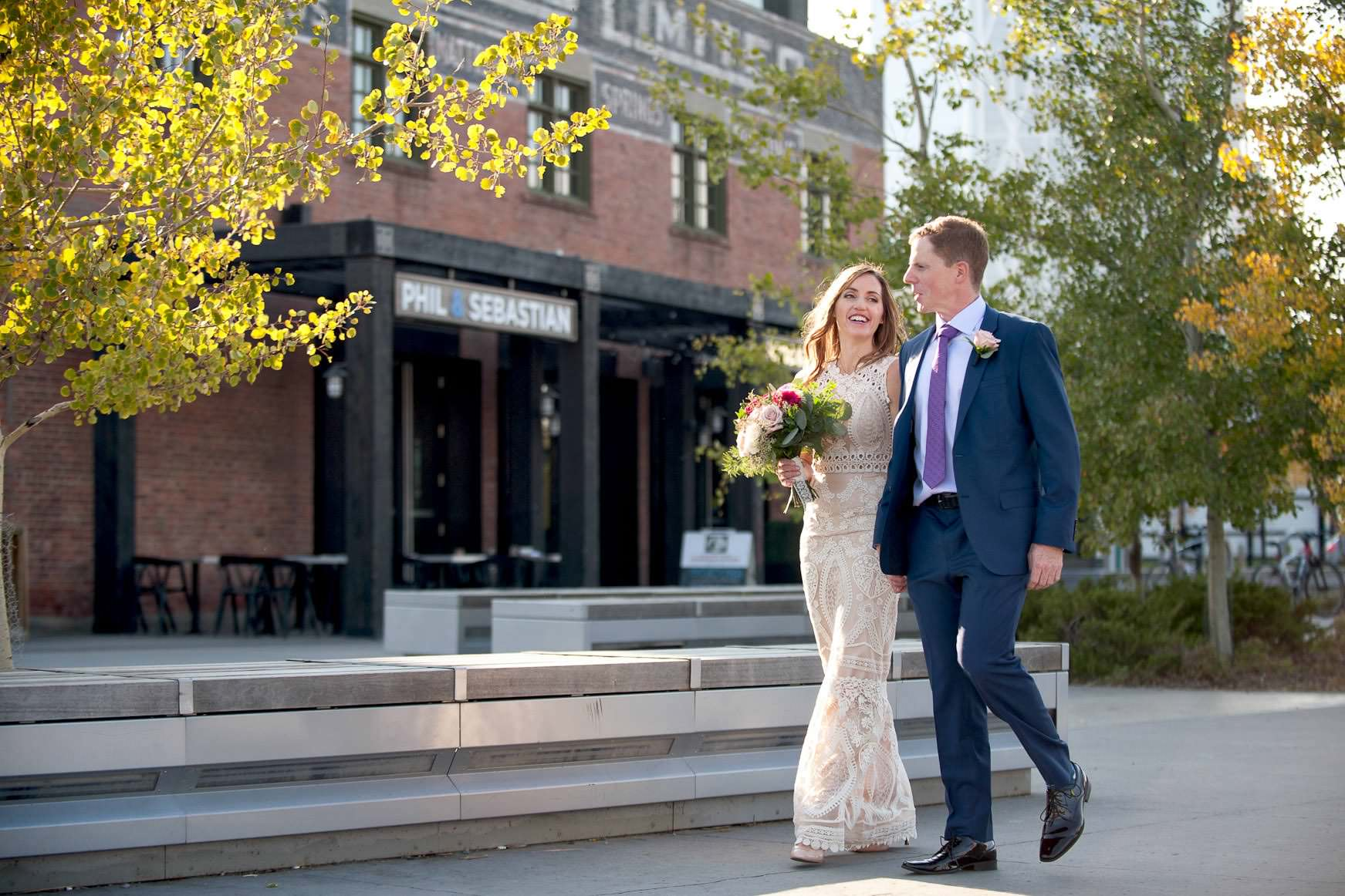 bride and groom outside Charbar one of the best wedding venues in Calgary and the Rockies