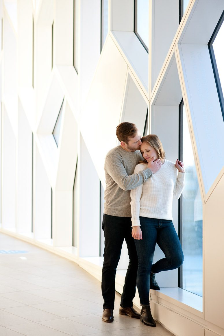 engagement session at the Central Library Calgary engagement photography by Tara Whittaker